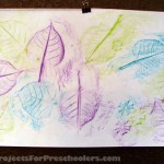 Leaf rubbing art with preschoolers