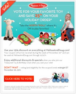 Vote for your favorite Educational Toys the North Poll from Melissa & Doug
