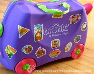 We love the travel stickers on our Trunki