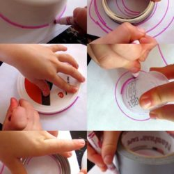 Drawing and tracing circles with recycled materials
