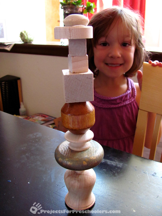 Building towers with big wood beads
