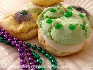 Mardi Gras cake mix cookies