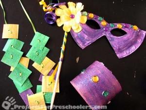 Mardi Gras mask, necklace and bracelet