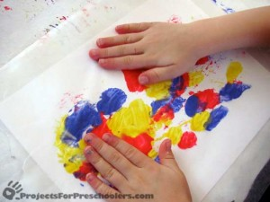 waxed paper finger painting