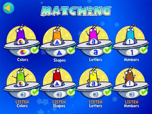 8 different Alien Buddies matching games for preschoolers