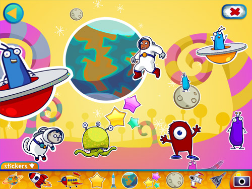 Alien Buddies ipad preschool sticker scene game
