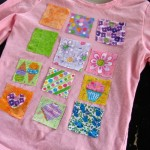 Fabric scrap t-shirt redecorating project