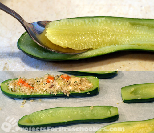 Use a spoon to remove center of zucchini
