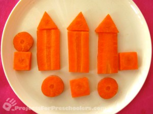 carrot shapes to make buildings