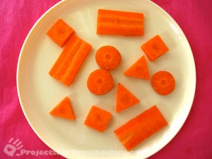 Cut a carrot into different shapes