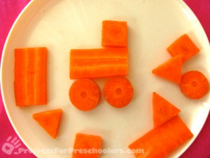 carrot shapes to make a car or train