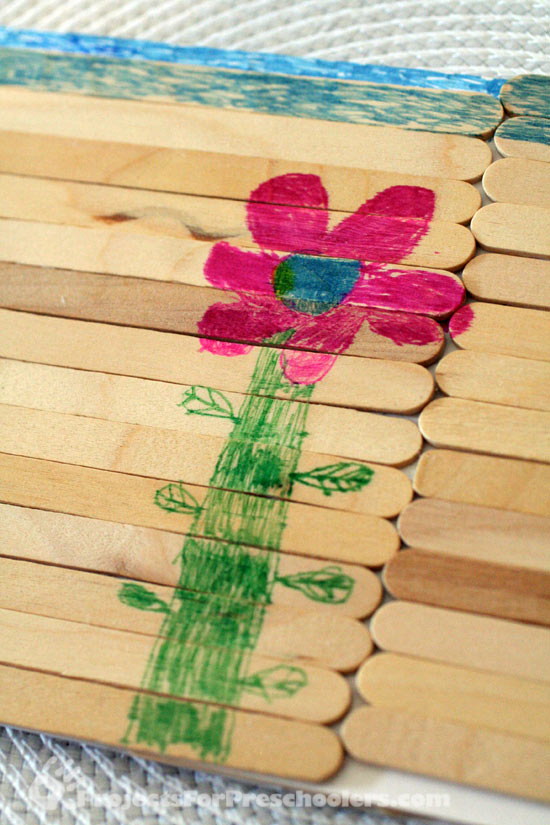 Coloring on popsicle sticks