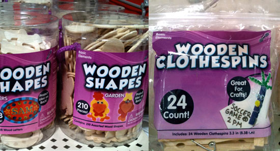 Wood shapes and clothespins at Walmart