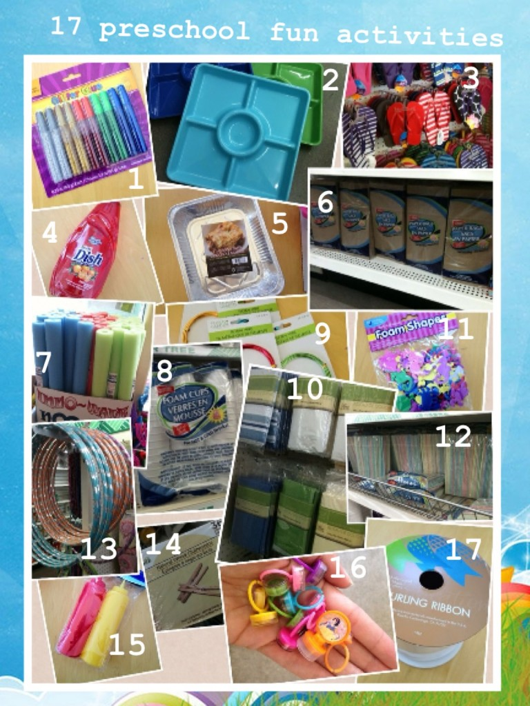 Preschool Project items at the Dollar Store