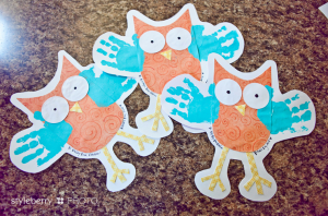 Fall Handprint Owls from StyleBerryBlog.com