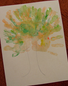 Painted handprint tree