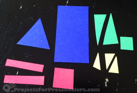 Paper shapes for preschool rocket activity