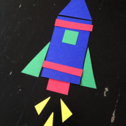 Make a Rocket with Rectangles and Triangles