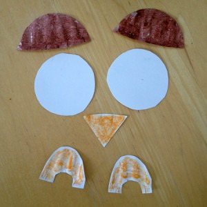 Owl parts cut from paper plate