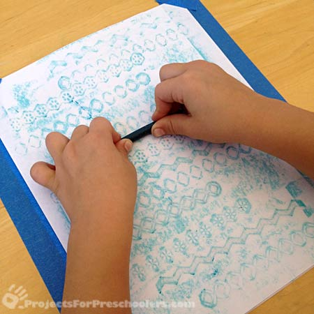 put a piece of paper on top of the textures and rub with a crayon