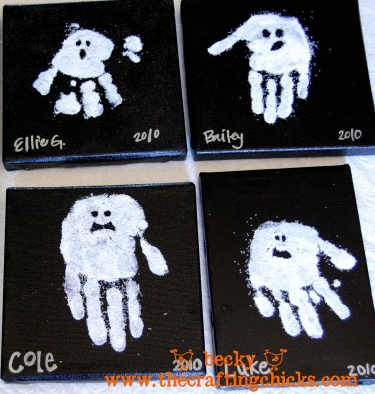 Sparkly handprint ghosts