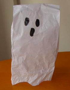 White lunch sack ghost puppet