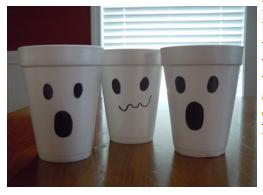 Styrofoam cup ghosts