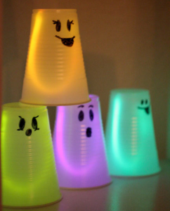 glowing ghosts with plastic cups