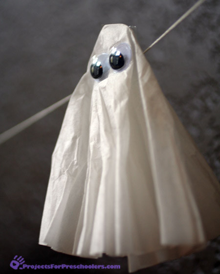 Coffee filter ghost - Halloween preschool craft