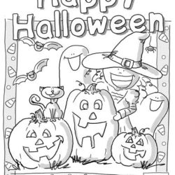 Halloween scene coloring page