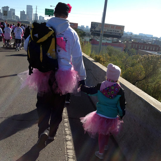 Dad and daughter at Race for the Cure in Denver