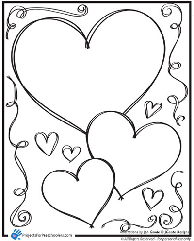 valentine hearts and swirls coloring page projects for preschoolers