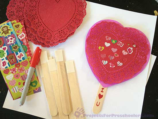 Materials to make a craft stick Valentine