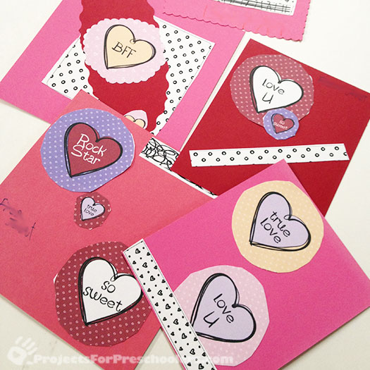 Make your own Valentine cards with free printable art Projects – Valentine Cards to Make