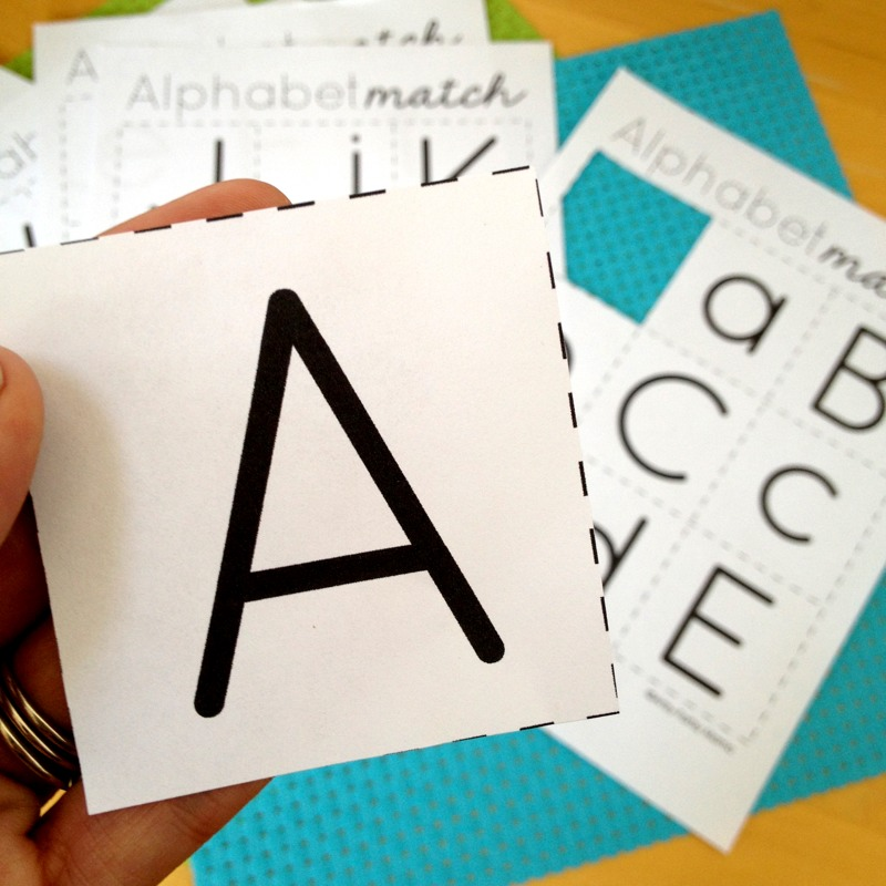 Alphabet Match game free printable from Artsy Fartsy Mama
