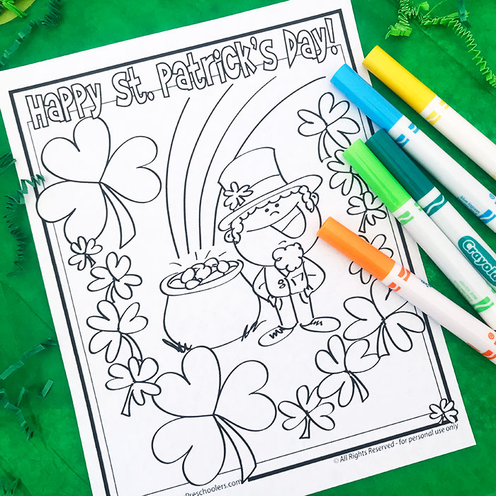 Free St. Patrick's Day Coloring Page - Projects For Preschoolers