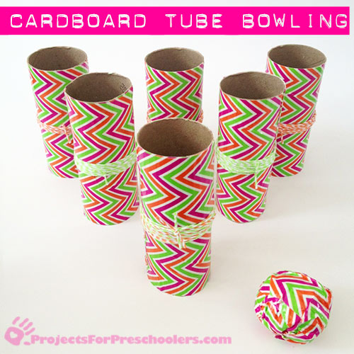 Make a mini bowling set with cardboard tubes and Duck tape