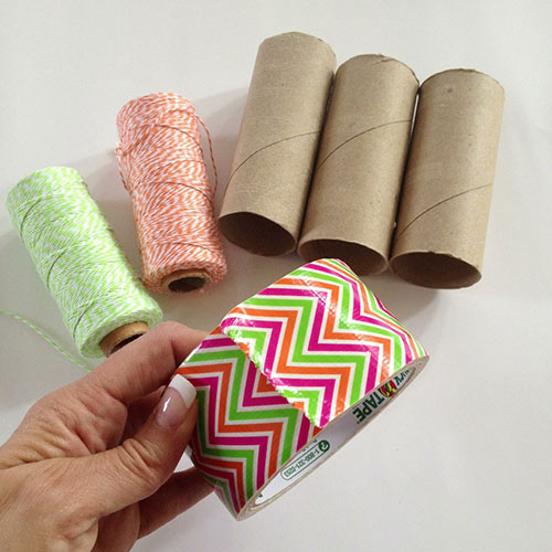 Materials you need to make a cardboard tube bowling set