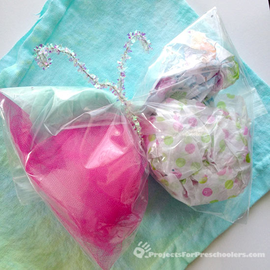 Make a sandwich bag butterfly