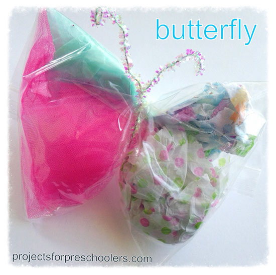 Make a butterfly with paper scraps and a sandwich bag