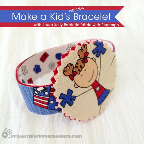 No-sew patriotic bracelet