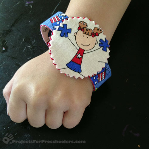 Finished patriotic no-sew bracelet