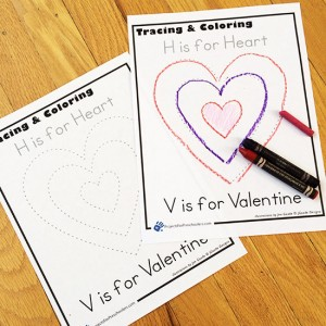Valentine Coloring page trace and color