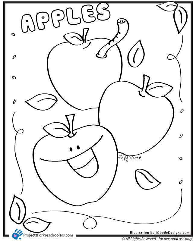apple coloring pages for preschoolers   Apples - Projects for Preschoolers
