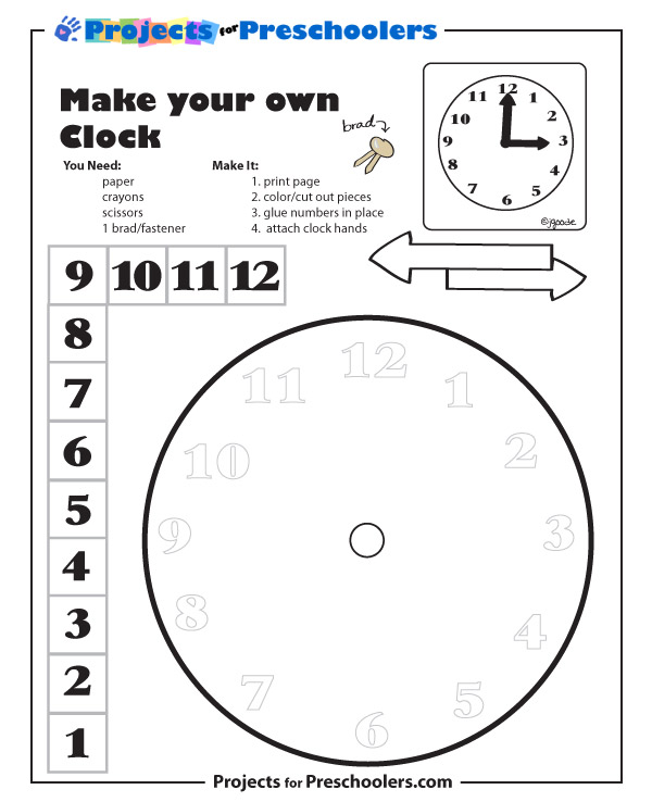 Make a Clock Projects for Preschoolers