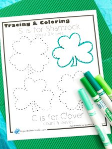 Shamrock and Clover Tracing Activity printable page