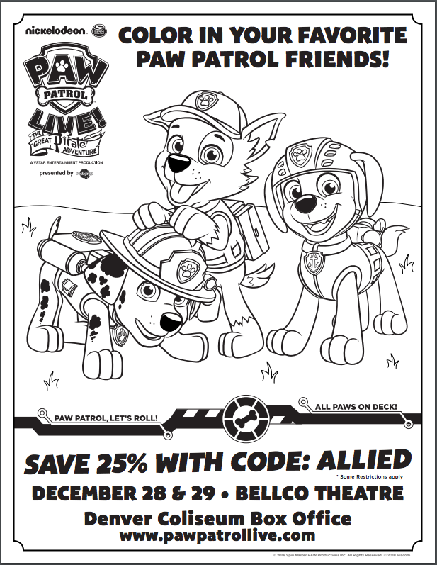- PAW Patrol Live! And Coloring Page - Projects For Preschoolers