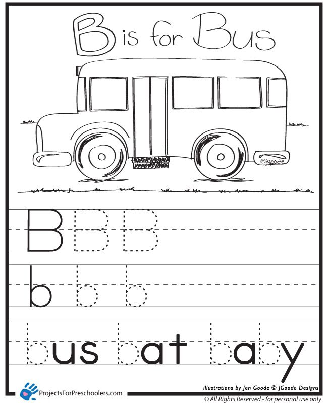 B is for Bus worksheet