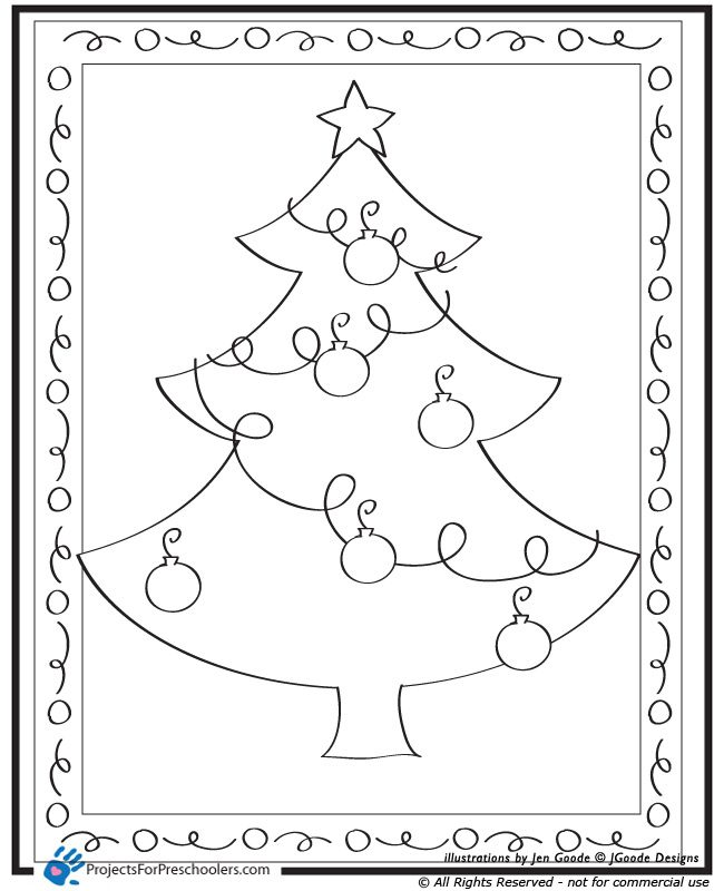Christmas Tree Coloring Page Projects For Preschoolers