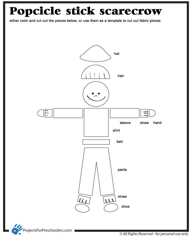 Scarecrow Template - Projects for Preschoolers